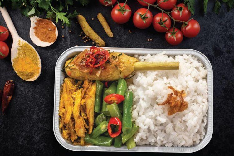 Nasi campur bali, salah satu hidangan dalam penerbangan Citilink.