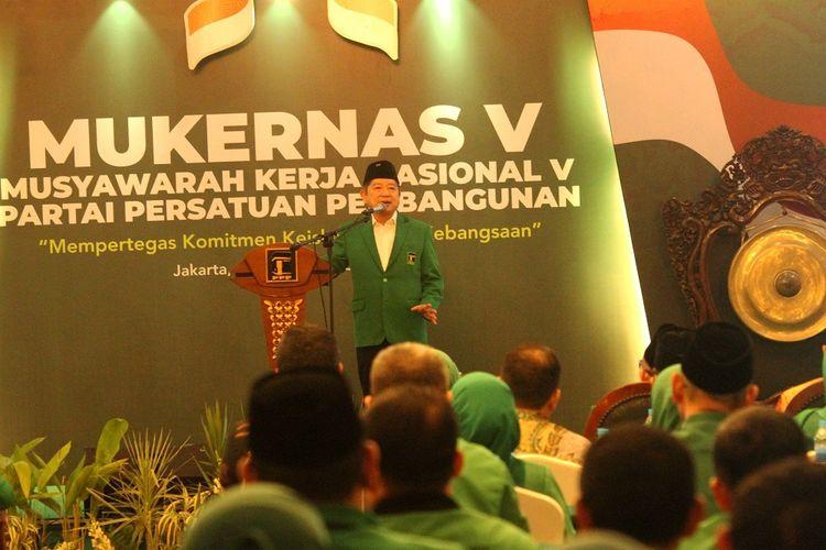 Plt Ketum PPP Suharso Monoarfa berikan sambutan pada pembukaan Musyawarah Kerja Nasional ke-V PPP, di Jakarta, Sabtu (14/12/2019). Dalam Mukernas PPP yang mengangkat tema  Mempertegas Komitmen Keislaman Kebangsaan  yang berlangsung hingga 16 Desember 2019 itu salah satunya membahas rencana pelaksanaan Muktamar PPP pada awal 2020. ANTARA FOTO/Risky Andrianto/hp.