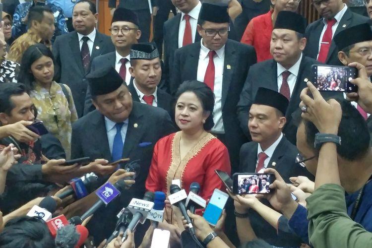 Ketua DPR Puan Maharani seusai Rapat Paripurna DPR di Kompleks Parlemen, Senayan, Jakarta, Selasa (1/10/2019).