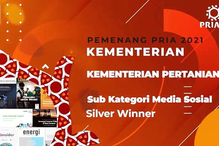 Tangkapan layar pengumuman pemenang Silver Winner The 6th Public Relations Indonesia Award 2021 Sub Kategori Media Sosial, melalui live streaming kanal Youtube PR Indonesia Magazine, pada Rabu (31/3/2021).