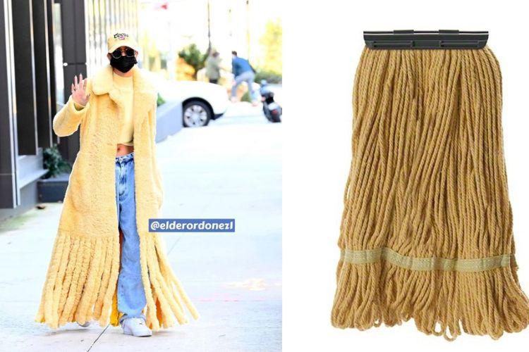Hailey Bieber ketika terlihat di New York. Pakaiannya disebut mirip lap pel.