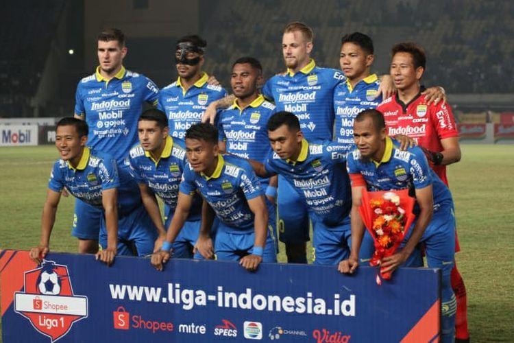 Skuad Persib Bandung dalam pertandingan Liga 1 kontra Semen Padang pada Rabu (18/9/2019).