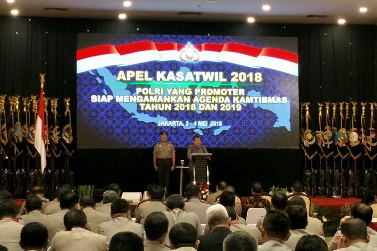 Wakil Presiden RI Jusuf Kalla ketika hadir dalam Apel Kasatwil Polri 2018 di Perguruan Tinggi Ilmu Kepolisian (PTIK) Jakarta, Jumat (4/5/2018).