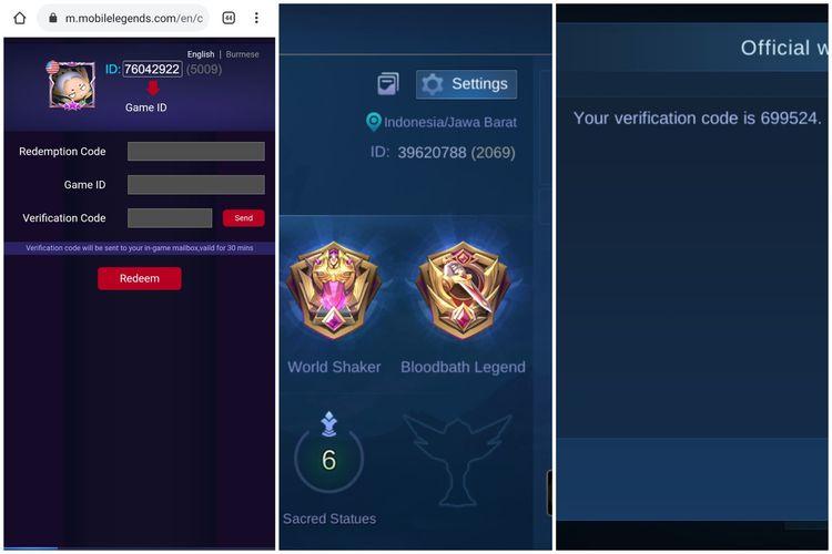 Tampilan situs Mobile Legends Exchange (kiri), tampilan isi avatar pengguna yang menampilkan ID (tengah), dan kode verifikasi di e-mail dalam game (kanan).
