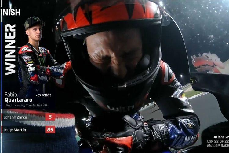 Ekspresi rider Yamaha, Fabio Quartararo, setelah mengambil kemenangan di MotoGP Doha 2021 di Sirkuit Internasional Losail, Qatar, pada Senin (5/4/2021) dini hari WIB.
