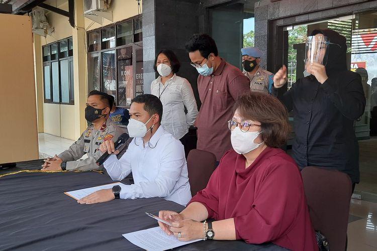 Konferensi pers terkait perkembangan penyelidikan kasus fetish di Kota Malang, Senin (20/9/2021).