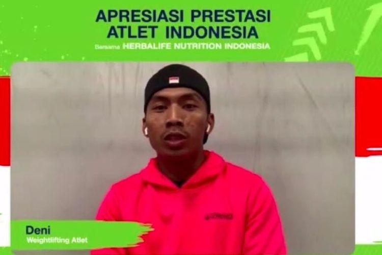 Tangkapan layar pada pertemuan virtual, Senin (27/9/2021), Apresiasi Prestasi Atlet Indonesia Herbalife Nutrition Indonesia, atlet angkat besi Indonesia pada Olimpiade Tokyo 2020, Deni.