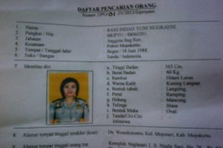Briptu Rani masuk dalam daftar pencarian orang (DPO) setelah lebih dari 30 hari tidak masuk kerja di Polres Mojokerto.