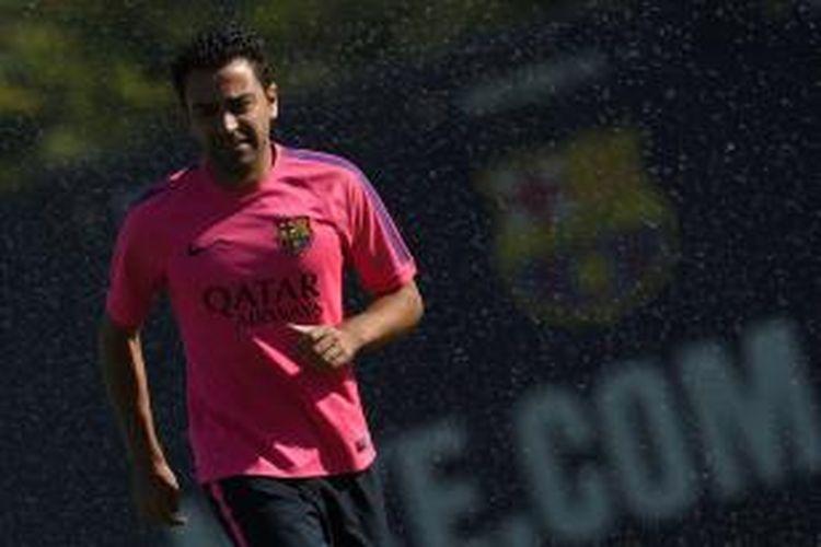 Gelandang Barcelona Xavi Hernandez.