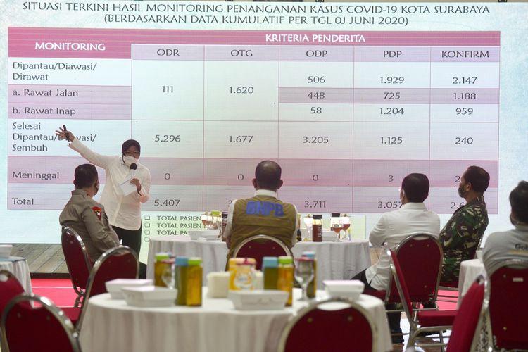Wali Kota Surabaya Tri Rismaharini saat memaparkan penanganan Covid-19 di hadapan Menteri Kesehatan Terawan Agus Putranto dan Kepala Badan Nasional Penanggulangan Bencana (BNPB) Doni Monardo di Balai Kota Surabaya, Selasa (2/6/2020).