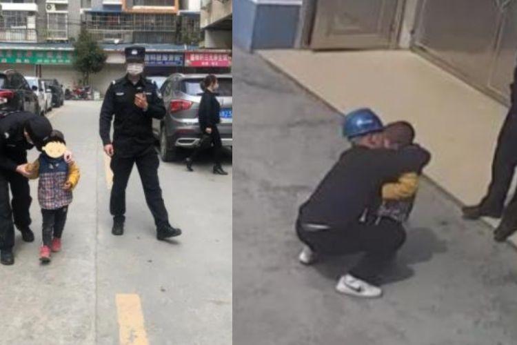 Gambar kiri, momen ketika seorang bocah berusia lima tahun ditianggal oleh orangtuanya yang sedang mengurus perceraian di Luizhou, China. Foto kanan adalah saat bocah itu bertemu lagi dengan ayahnya.