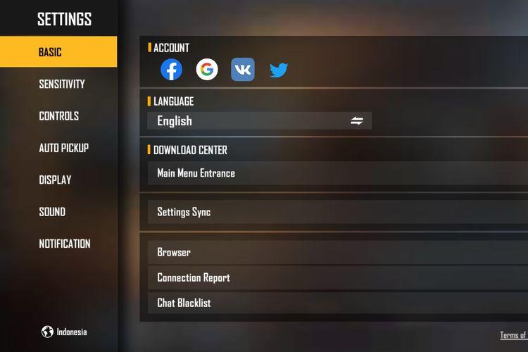 Menu pengaturan yang dapat diakses pemain untuk menautkan akun Free Fire ke akun Facebook, Google, VK, atau Twitter.