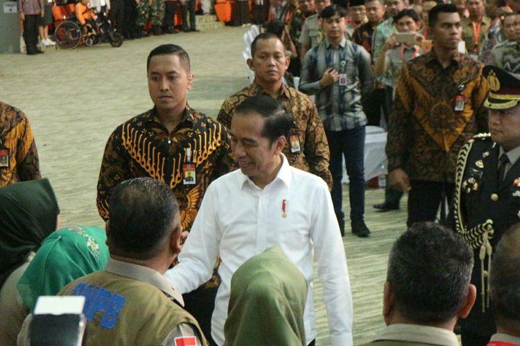 Presiden Joko Widodo membuka Rakornas BNPB di Sentul, Bogor, Jawa Barat