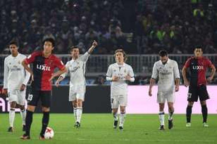 Cristiano Ronaldo merayakan gol Real Madrid ke gawang Kashima Antlers pada final Piala Dunia Antarklub di Stadion Internasional Yokohama, Minggu (18/12/2016).