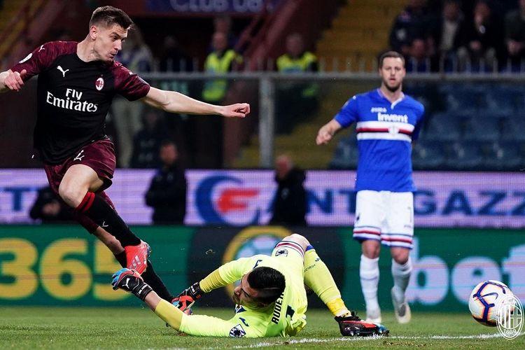 Duel Sampdoria vs AC Milan pada lanjutan Serie A Liga Italia berlangsung di Stadion Luigi Ferraris, 30 Maret 2019.