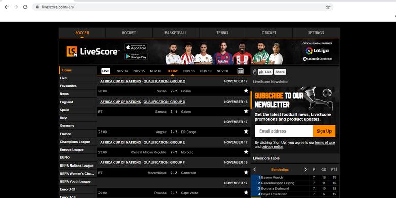 Situs Livescore.com sudah bisa diakses kembali.