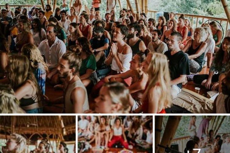 Foto-foto puluhan warga negara asing (WNA) yoga tanpa masker dan pembatasan jarak.