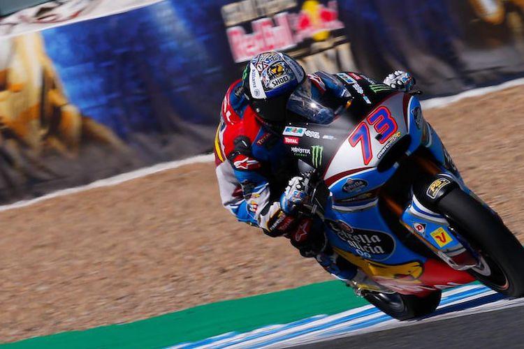 Pebalap Moto2 dari tim EG 0,0 Marc VDS asal Spanyol, Alex Marquez, memacu motornya pada balapan GP Spanyol di Sirkuit Jerez, Minggu (7/5/2017).