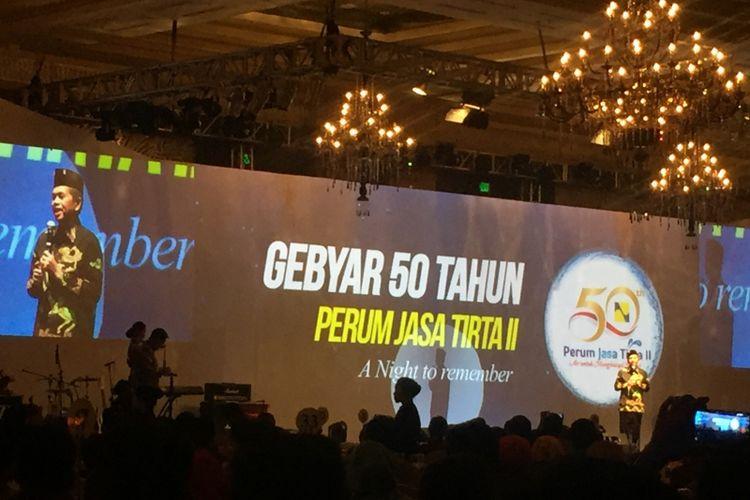 Bupati Purwakarta Dedi Mulyadi saat memberikan sambutan di HUT ke-50 PJT II di Jakarta, Sabtu (26/8/2017) malam.