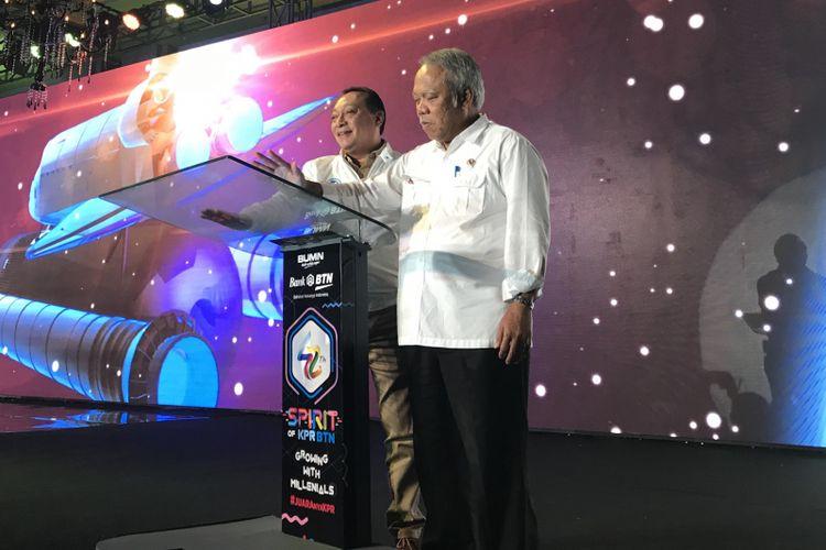 Direktur Utama Bank BTN Maryono dan Menteri PUPR Basuki Hadimuljono dalam acara HUT Bank BTN di Jakarta, Senin (10/12/2018)