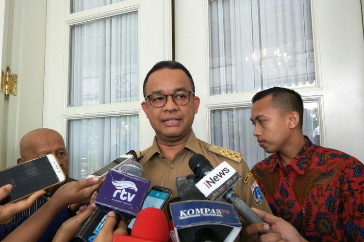 Gubernur DKI Jakarta Anies Baswedan di Balai Kota DKI Jakarta, Jalan Medan Merdeka Selatan, Selasa (12/12/2017).