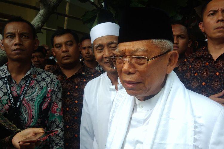 Calon wakil presiden nomor urut 01 KH  Maruf Amindi Pondok Pesantren An-Nur, Bantul, Yogyakarta, Kamis (28/3/2019).