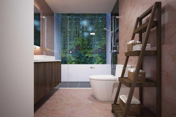 Dekorasi kamar mandi rumah pribadi Spring Hill di Jakarta karya MI+MO.