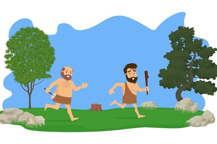 ilustrasi manusia praaksara berburu