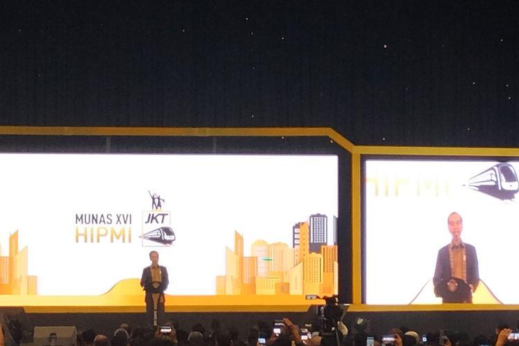 Presiden Joko Widodo memberikan sambutan pada Musyawarah Nasional (Munas) XVI Himpunan Pengusaha Muda Indonesia (HIPMI) di Hotel Sultan, Jakarta, Senin (16/9/2019).