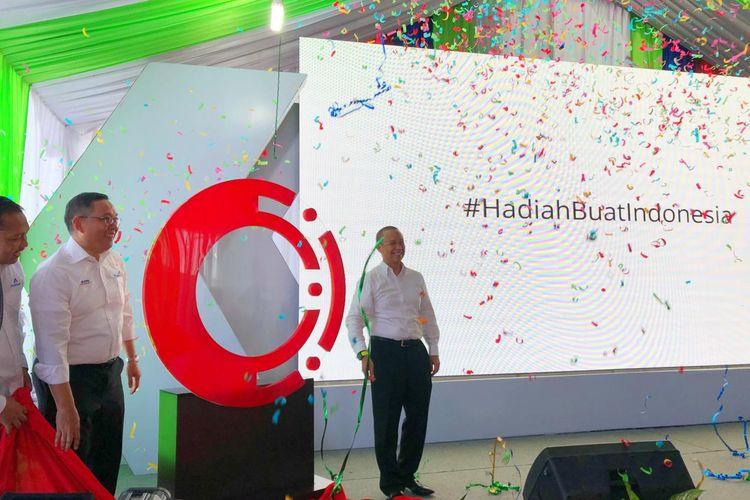 Peluncuran Mind Id ditandai dengan topping off di kantor pusat Inalum di Kuala Tanjung, Kabupaten Batu Bara, Sumatera Utara, Sabtu (17/8/2019).