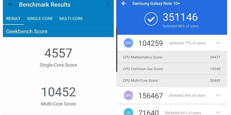 Hasil skor benchmark Galaxy Note 10 Plus versi AnTuTu (kiri) dan Geekbench 4 (kanan)