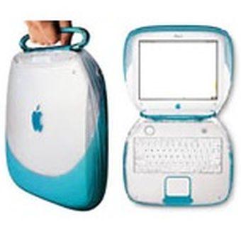 iBook varian warna blueberry dengan gagang yang menempel di engsel.