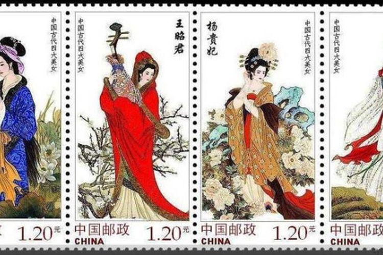 Ilustrasi empat wanita cantik yang melegenda dari zaman China kuno. [Via Supchina.com]