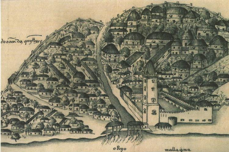 Gambar Malaka setelah ditaklukkan Portugis pada 1511. Pemandangan digambar oleh sejarawan Gaspar Correia dalam karyanya Lendas da Índia yang ditulis di abad ke-16.