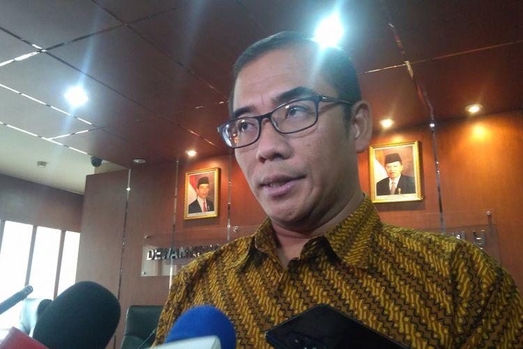 Komisioner Komisi Pemilihan Umum RI (KPU) Hasyim Asyari di Gedung Bawaslu RI, Jakarta, Senin (22/1/2018).