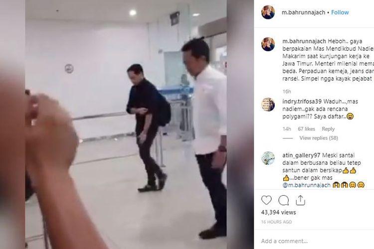 Bidik layar unggahan gaya berpakaian Menteri Pendidikan dan Kebudayaan (Mendikbud) Nadiem Makarim yang ramai dibicarakan di media sosial.