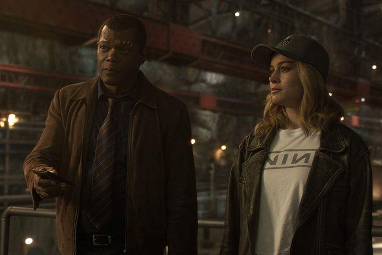 Aktor Samuel L Jackson (Nick Fury) dan Brie Larson (Carol Danvers atau Captain Marvel) dalam film Captain Marvel.