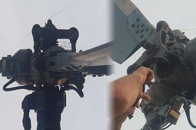 Tali layangan menyangkut di baling-baling helikopter BPBD Kalbar. Beruntung kejadian itu tak membuat heli mengalami gagal sistem yang bisa berakibat fatal.