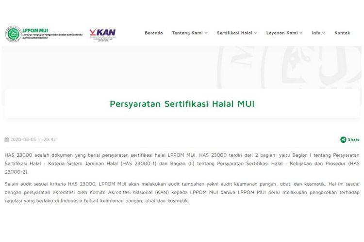 Persyaratan sertifikasi Halal MUI.