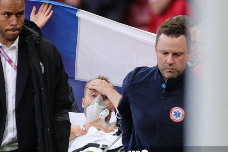 Gelandang Denmark, Christian Eriksen, sadar kembali dan dalam kondisi stabil seusai sempat kolaps pada pertandingan kontra Finlandia di Euro 2020, 12 Juni 2020.