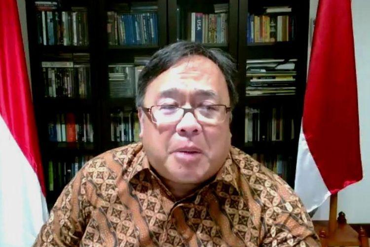 Tangkapan layar Menristek Prof Bambang Brodjonegoro saat mengumumkan proposal riset yang didanai Kemristek unuk penanganan Covid-19.