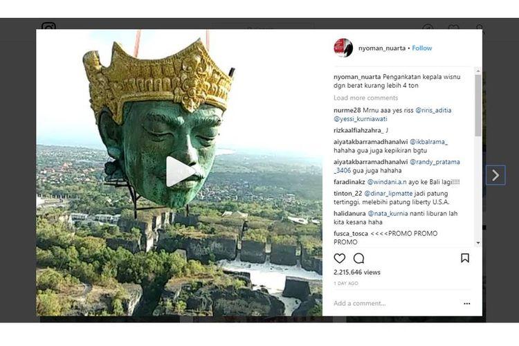 Video yang diunggah seniman Nyoman Nuarta, @nyoman_nuarta, mengenai proses pemasangan kepala patung Wisnu di Bali mengundang decak kagum netizen.
