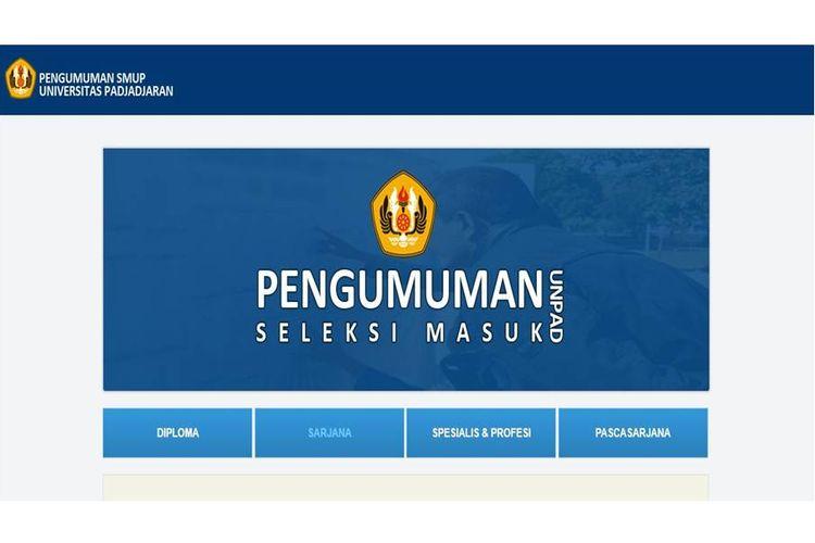 Laman situs pengumuman Universitas Padjajaran