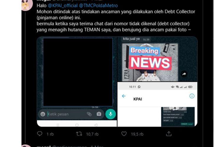 Viral twit yang berisi cerita ancaman dari debt collector pinjaman online