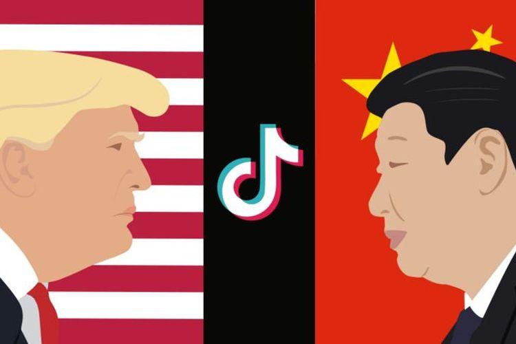 Ilustrasi TikTok di tengah perseteruan Amerika Serikat yang dipimpin Donald Trump dengan China yang dikomandoi Xi Jinping.