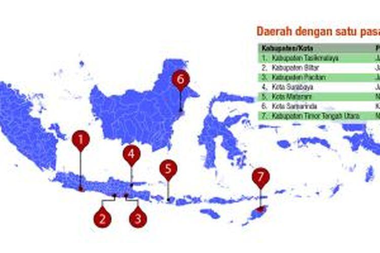 Tujuh daerah dengan calon tunggal hingga batas akhir pendaftaran calon kepala daerah pada 3 Agustus 2015.