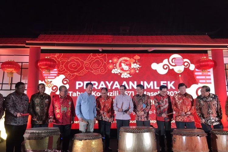 Menteri Pendidikan dan Kebudayaan, Nadiem Makarim dalam sambutan acara Perayaan Imlek di Kementerian Pendidikan dan Kebudayaan, Jakarta, Kamis (6/2/2020).