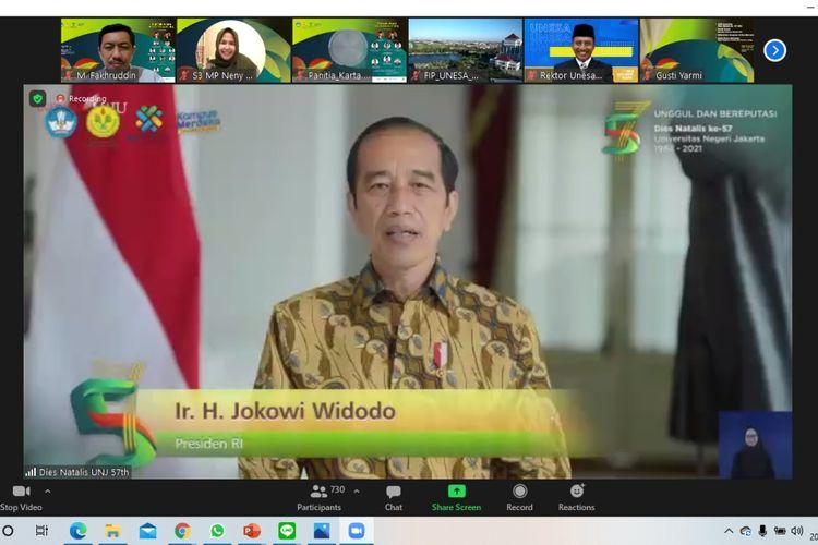 Presiden Joko Widodo dalam Sidang Terbuka Dies Natalis Universitas Negeri Jakarta (UNJ) ke-57 (20/5/2021).
