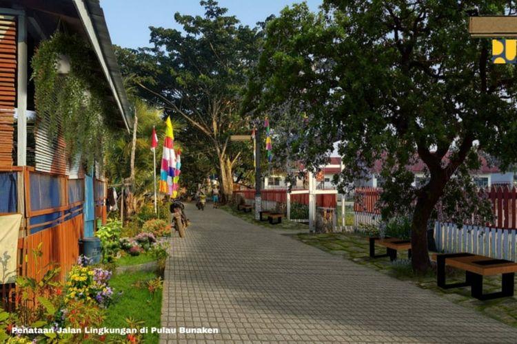 Pembangunan jalan dan lingkungan di Pulau Bunaken.