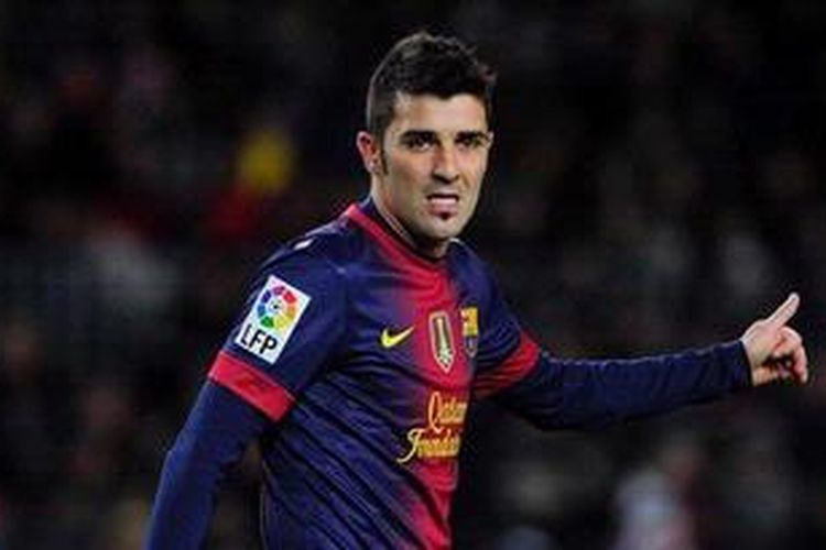 Gambar diambil pada 28 November 2012 saat bomber Barcelona, David Villa, beraksi dalam laga kedua Copa del Rey antara timnya melawan Alaves di Stadion Camp Nou. Villa kembali dilarikan ke rumah sakit, Kamis (14/2/2013), hanya dua hari setelah keluar dari rumah sakit lainnya akibat problem batu ginjal.